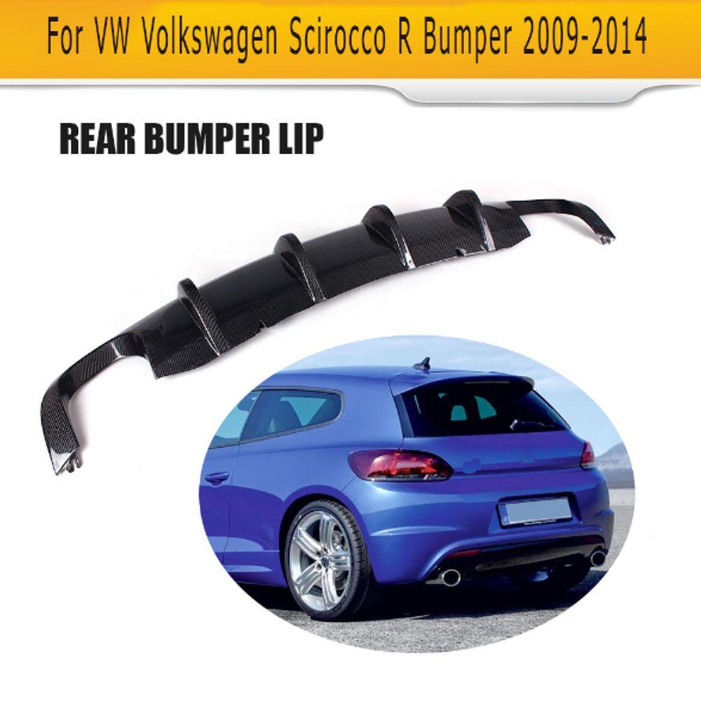 Carbon fiber car rear lip diffuserFor VW Scirocco R R20 Bumper 2009 - 2014 Two Style