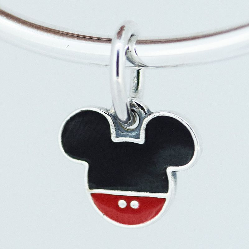 FANDOLA 1pcs Bead 925 Sterling Silver Mouse Icon Hanging Charm Beads for Jewelry Making Fits Charms Bracelets & Bangles Berloque
