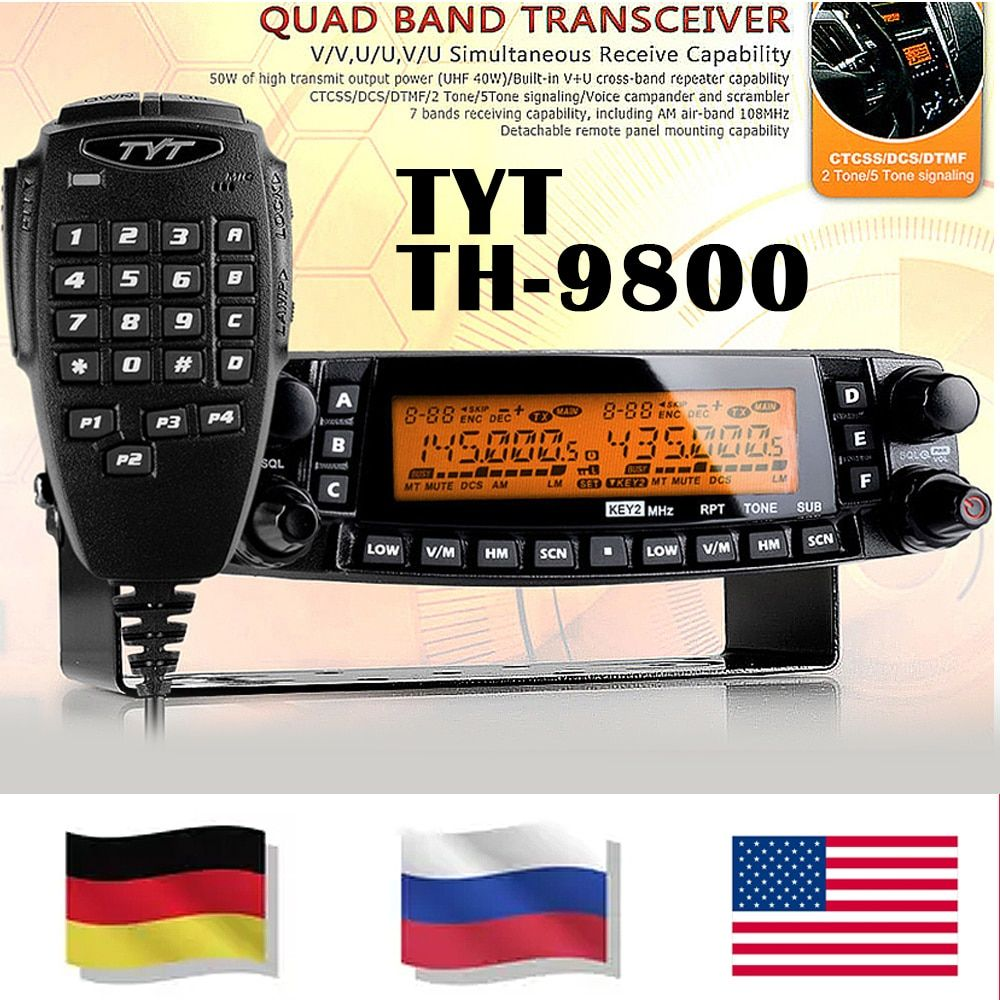 BIG SALE!!TYT TH-9800 Pro 50W 809CH  1801A Dual Display Repeater Scrambler VHF UHF Transceiver Car Truck Vehicle Two Way Radio