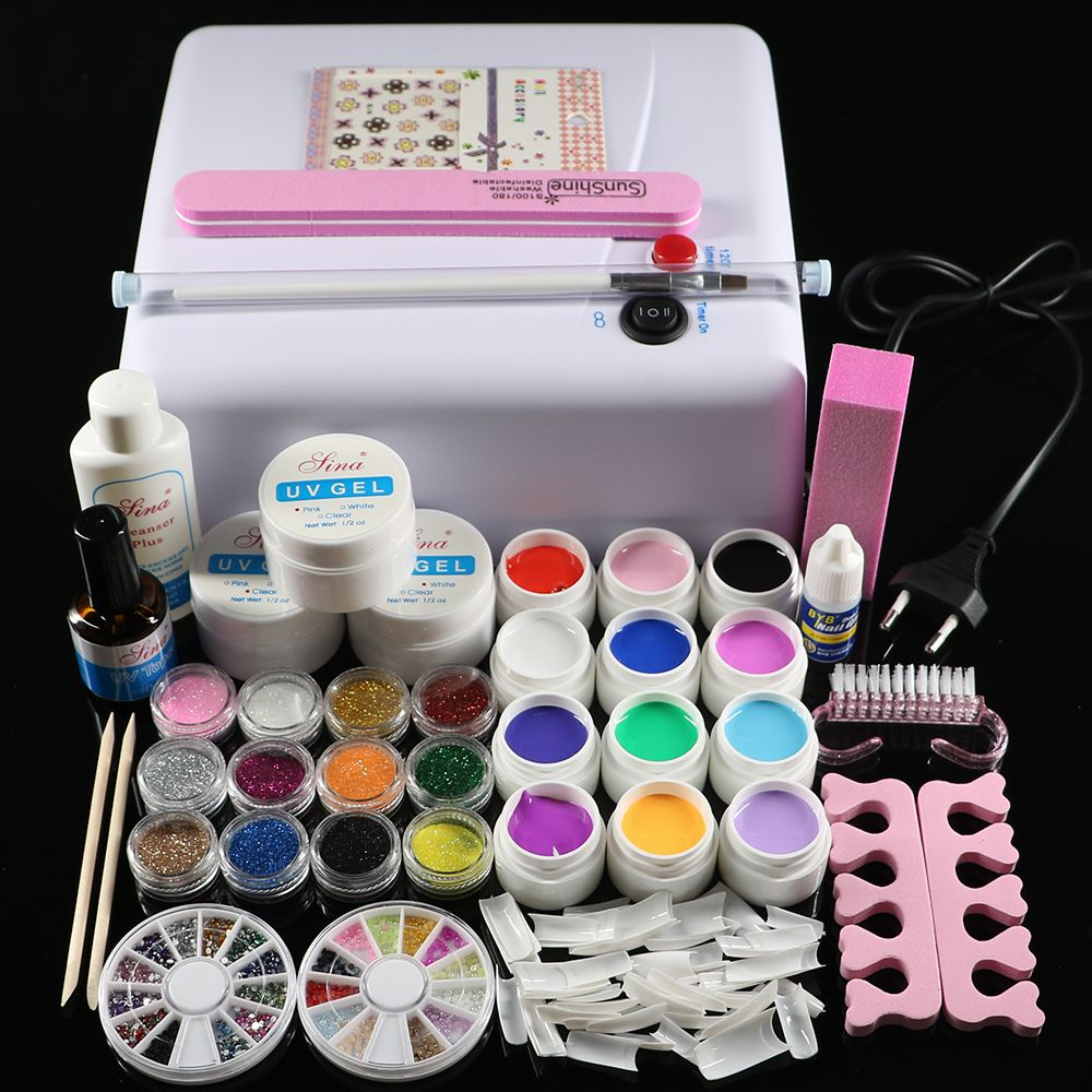 Nic-76 Professionelle Full Set 12 farbe UV Gel Kit Pinsel Nagel kunst Set + 36 Watt Härtung UV Lampe kit Trockner Curining Werkzeuge