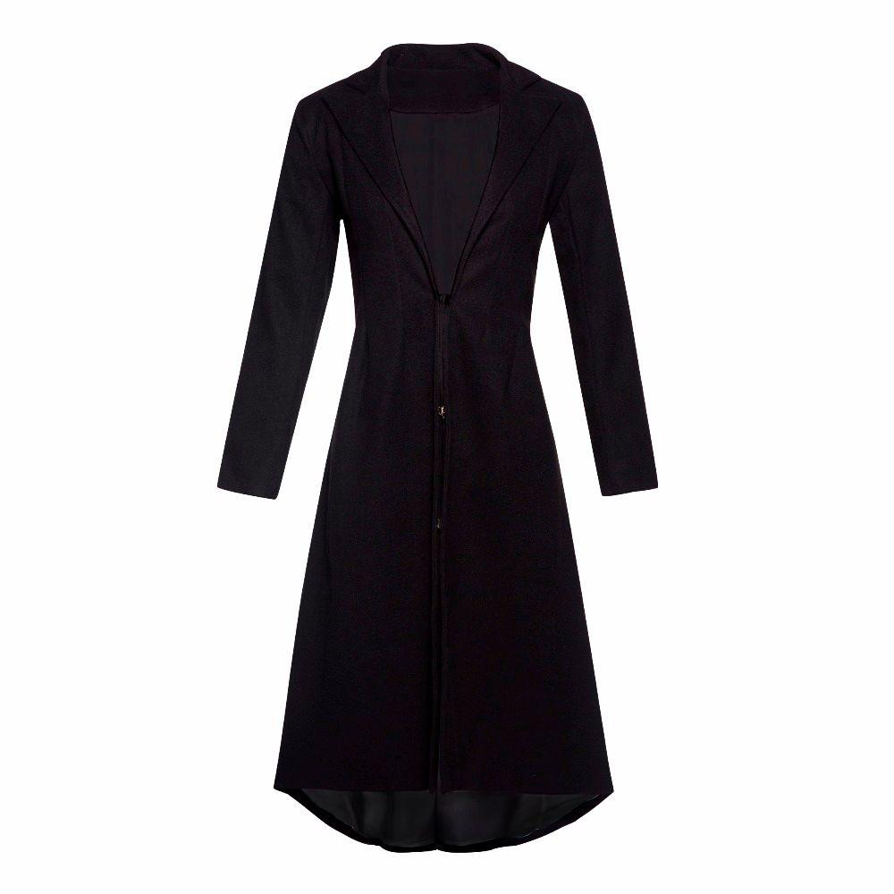 Doublure noire longue laine manteau femmes tenue de bureau grande taille hiver chaud Skinny dames Simple élégant décontracté pardessus