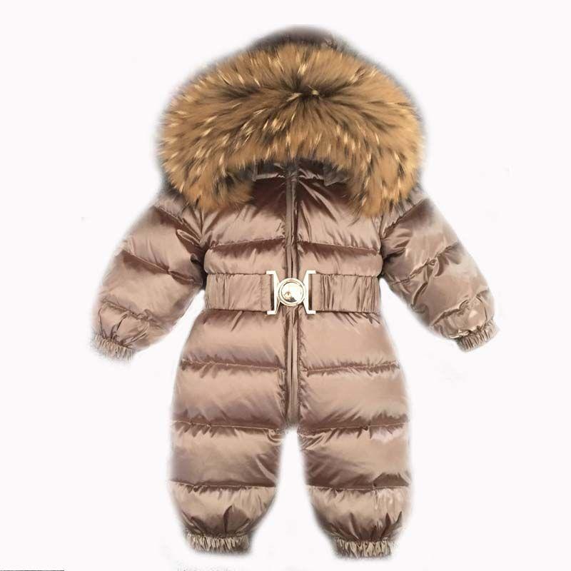 Mono del bebé Muchachas de Los Muchachos de Invierno de Los Mamelucos Del Bebé Mono Pato Real cuello de Piel de Los Niños ropa de Abrigo Niños Traje Para La Nieve
