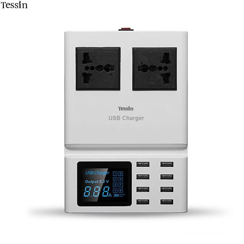 TESSIN Multi Port USB Chargeur 8A LED Affichage Numérique 2 sortie AC Socket 2500 Watt Station De Charge Pour Smartphone DV Mp3 adaptateur