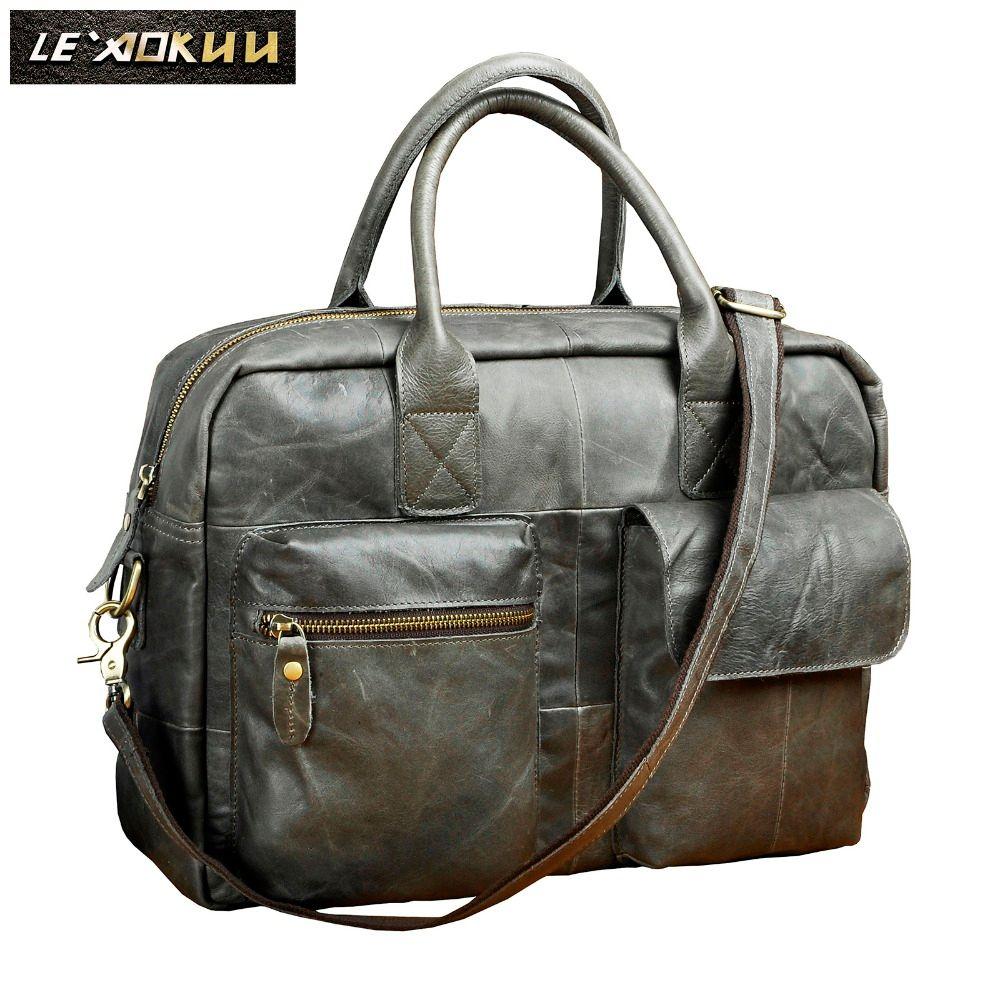 Real leather Men Fashion Handbag Business Briefcase Commercia Document Laptop bag Gray Male Attache Portfolio Tote Bag b331g
