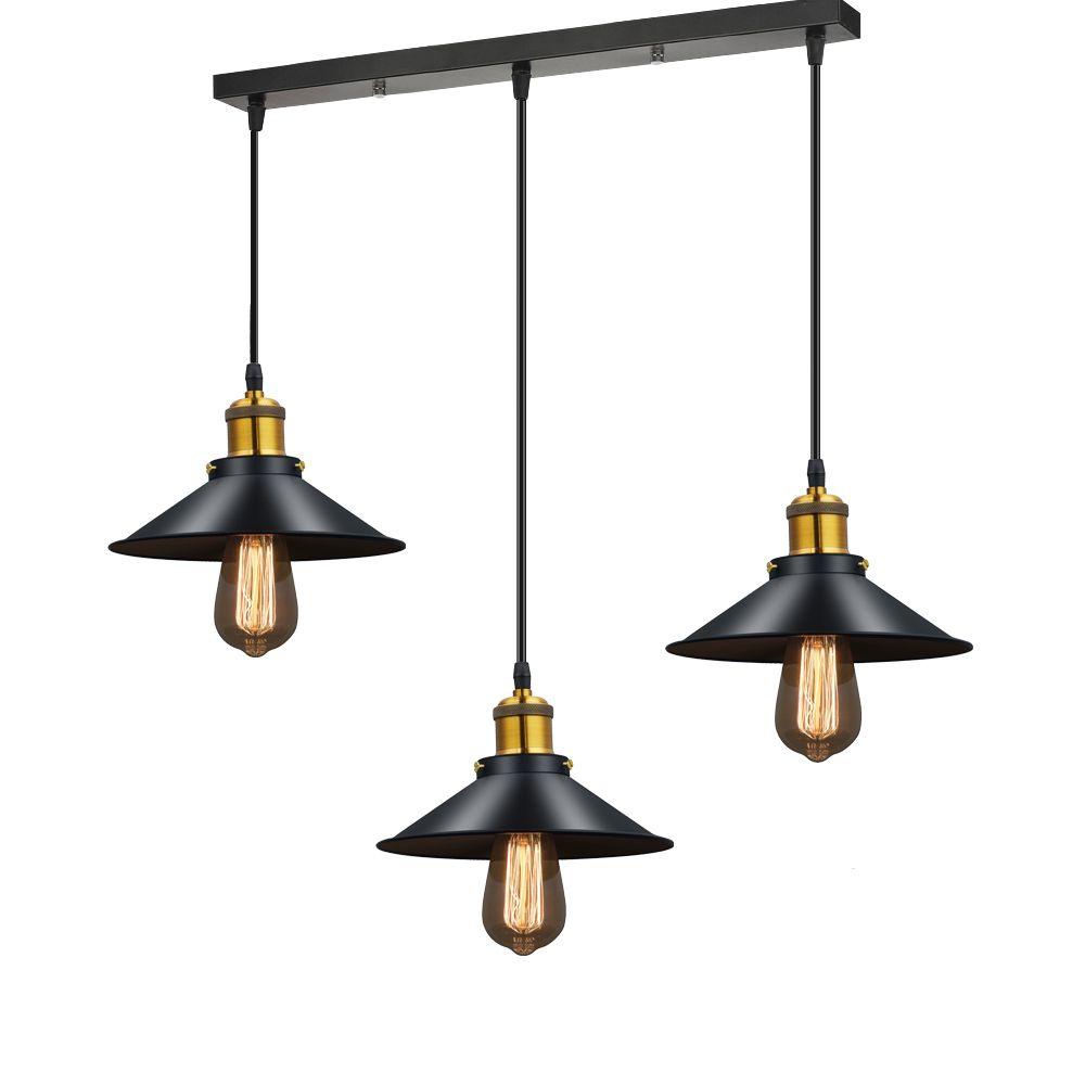 Lustre moderne LED Lustre éclairage en métal noir lustres de plafond Vintage lumière salle à manger chambre lampe à Suspension Luminaire