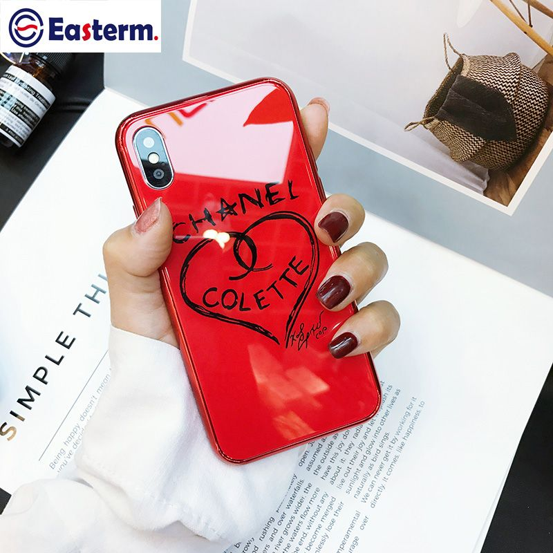 Easterm Full Protection Luxury Tempered Glass Case For iPhone X Cute Love Heart Cover For iPhone 6 6s 7 8 Plus