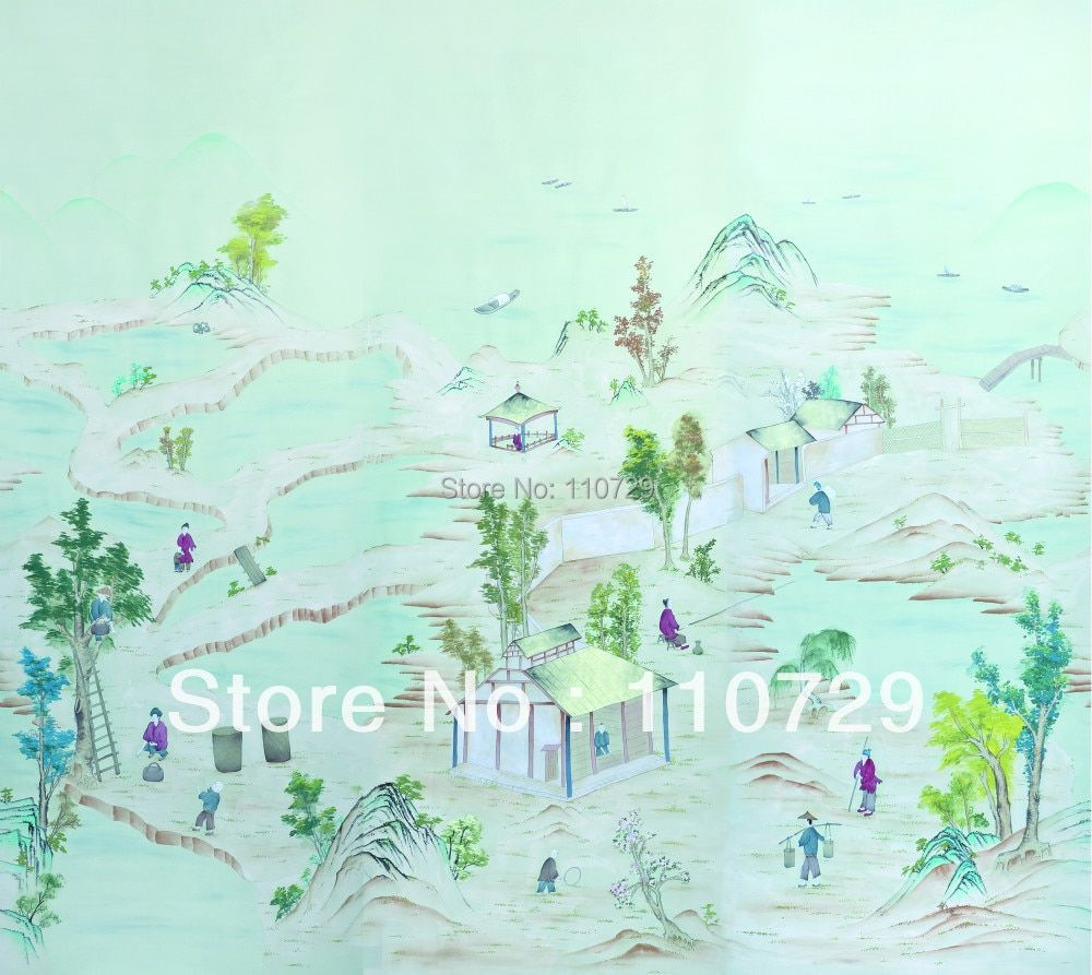 Hand painted wallcovering Hand-painted silk wallpaper painting Countryside village TV/Sofa/bedroom/living room background