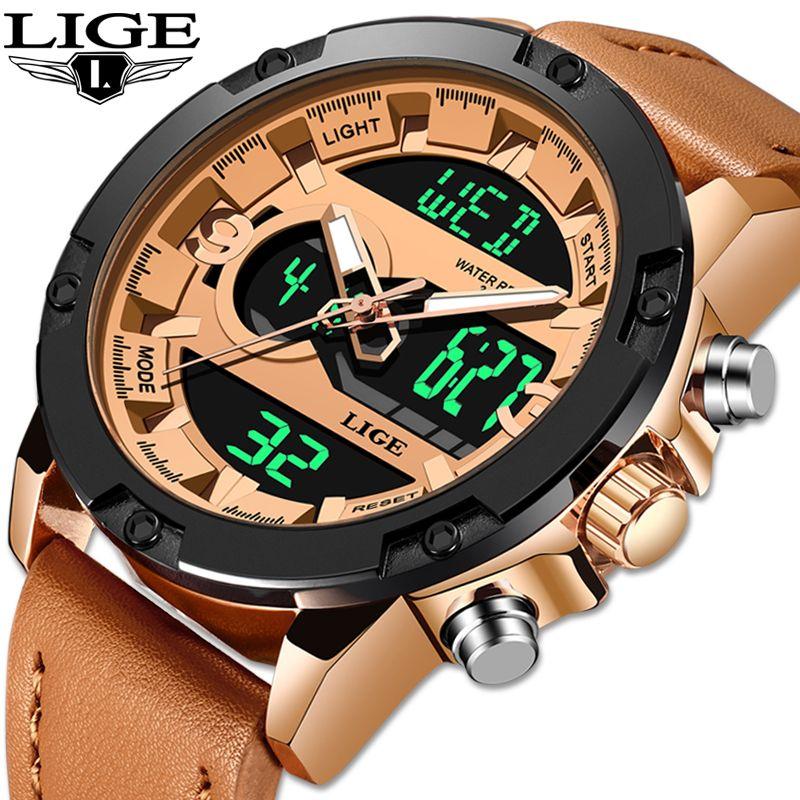 2019 LIGE Neue Herren Uhren Luxus Marke Sport Uhr Männer LED Digital Wasserdicht Leder Quarzuhr Mann Uhr Relogio Masculino