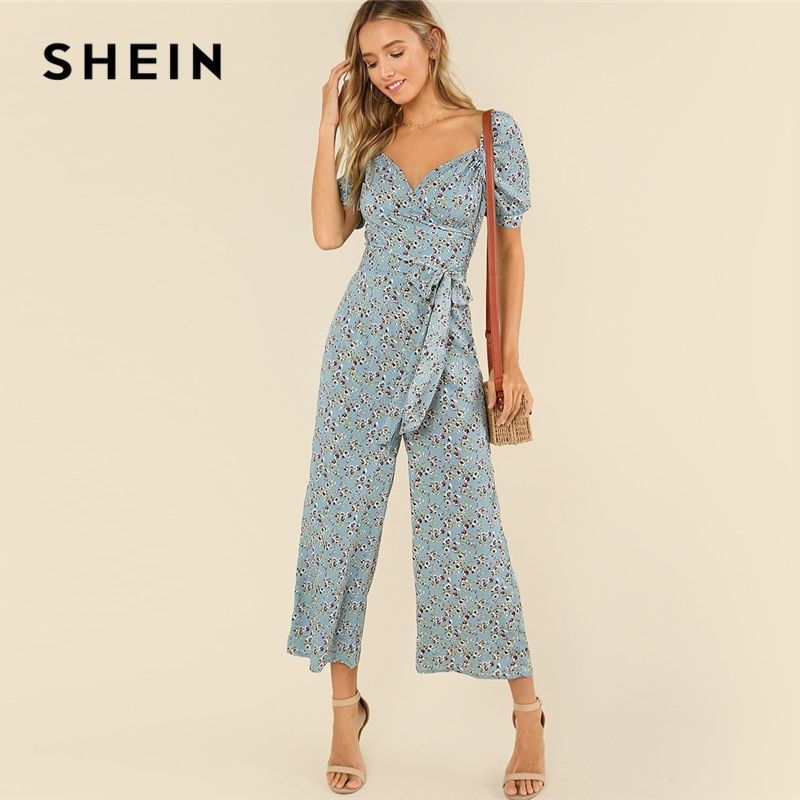 SHEIN Multicolor Casual V neck Half Sleeve Mid Waist Daisy Print Summer Wide Leg Jumpsuit For Women