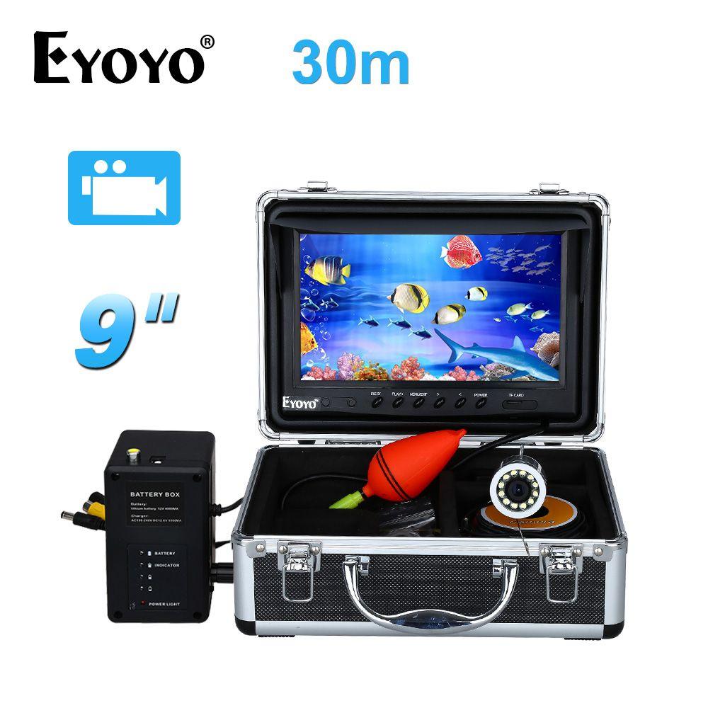 EYOYO 9 Video Fisch Finder HD 1000TVL 30 Mt Volle Silber Fishing Kamera Unterwasser Videoaufzeichnung DVR Weiße LED 8 GB KARTE