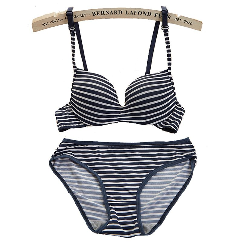6 color AB cup Summer network explosion bra set Navy wind stripe gather candy fashion girl underwear set women