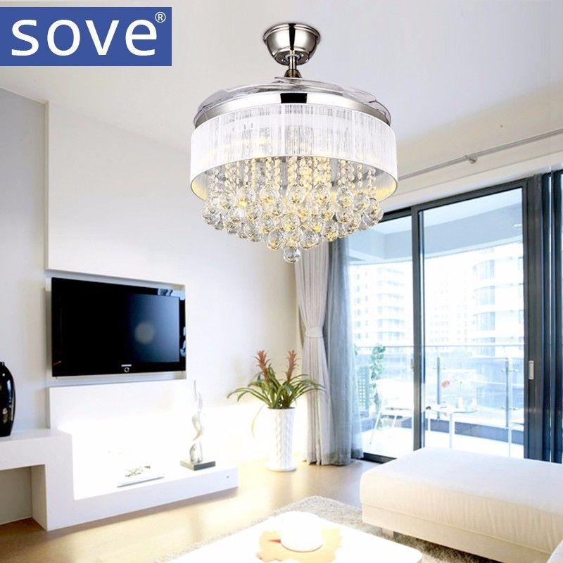 SOVE LED Modern Crystal Ceiling Fans With Lights Folding Ceiling Fan Remote Control Ceiling Light Fan Lamp Ventilador De Techo