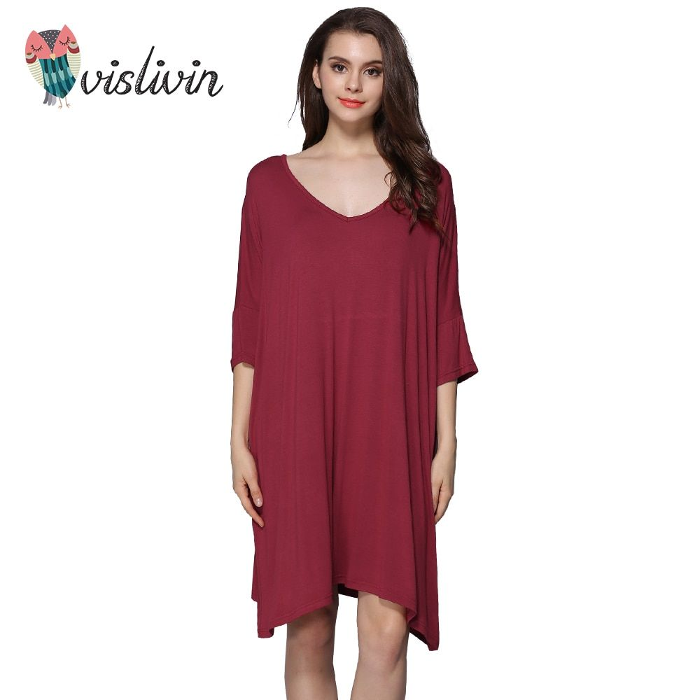 Vislivin Women Lncrease Size Cotton Nightgowns Sleepshirts Summer Home Dress Sleepwear Loose Comfortable Nightdress Clothing