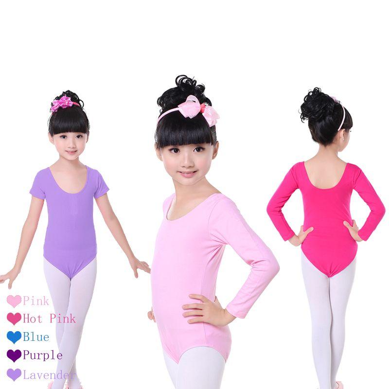 Niños Rosa de la Corto/Manga Larga Ropa Girls Ballet Danza Gimnasia Leotardo Dancewear