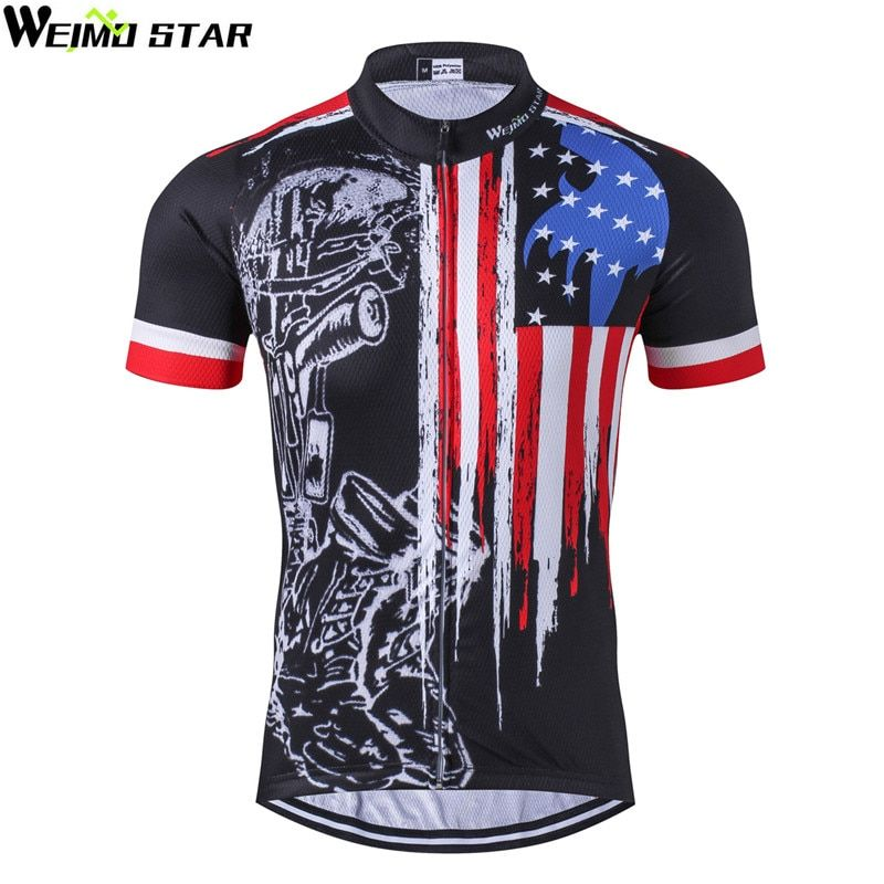 Weimostar 2018 Breathable Cycling Jersey Racing Sport USA <font><b>Bicycle</b></font> Cycling Clothing Short mtb Bike Jersey Quick Dry Cycling Wear