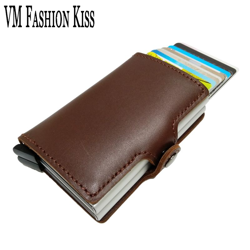 VM FASHION KISS Genuine Leather Double Aluminum Box RFID Safe Card Wallet Credit Card Information Anti-theft Brush Card Holder