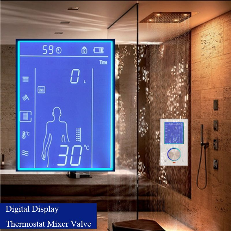 JMKWS LCD Smart Shower Mixer Thermostatic Valve Faucet Digital Display Shower Panel Touch Screen Control Shower System In Wall