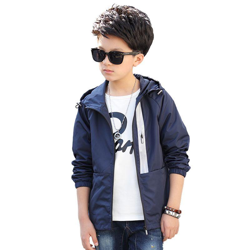 2019 vêtements d'extérieur pour enfants vestes de couleur unie sport Double-pont imperméable coupe-vent garçons vestes pour 5-15 ans 2 couleurs