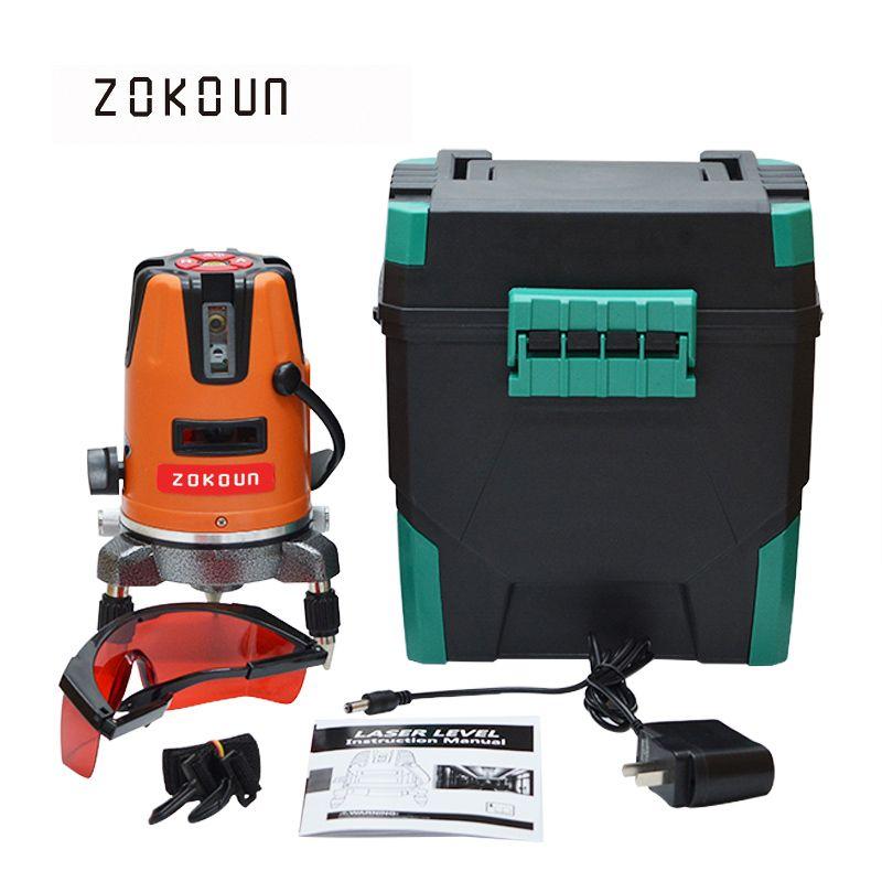 US Plug ZOKOUn 05RCO 5 lignes 6 points 360 degrés rotatif le mode en plein air disponibles mise à niveau rouge ligne laser niveau