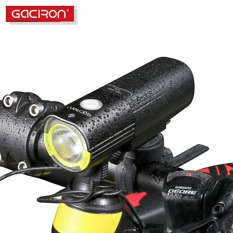 GACIRON Bicycle bike Headlight Waterproof 1000 Lumens MTB Cycling <font><b>Flash</b></font> Light Front LED Torch Light Power bank bike accessories