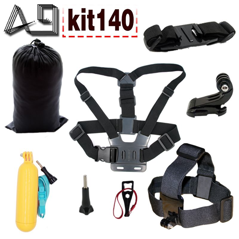 A9 For action camera accessories set for Gopro 5 4 3 / SJCAM SJ4000 with floating bobber head strap body tripod helmet strap