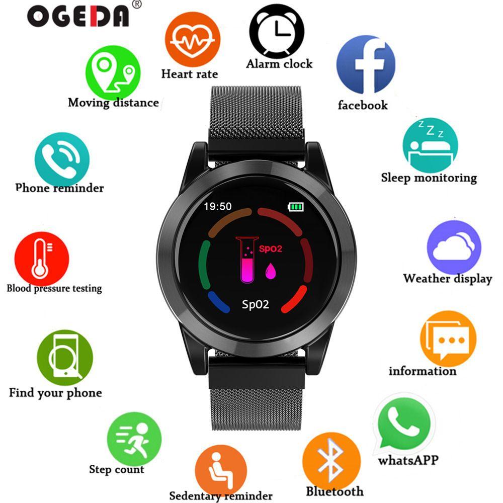Smart watch Männer Luxus mode LED Bluetooth Fintness Armband blutdruck herz rate monitor wasserdichte telefon alarm OGEDA