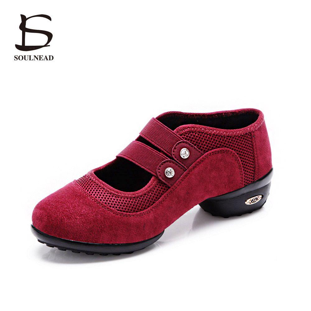 Квадратном кроссовки Танцевальная обувь джаз хип-хоп двойной ремень обувь Сальса на платформе для танцев женская обувь красный черный зеле...
