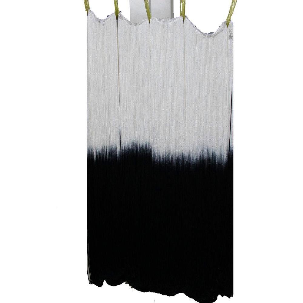 Longues franges gland Latin robe garnitures Dip colorant Ombre rayonne gland coupe bricolage dentelle blanc cassé/noir Latin macramé garnitures 60 CM de Long