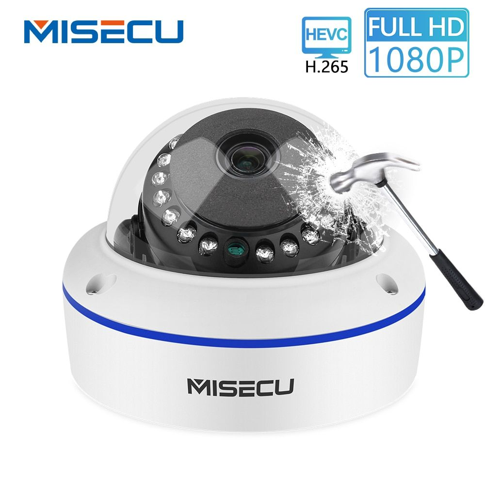 MISECU 48V POE H.265/H.264 Dome IP Camera 2.8mm Vandalproof 2.0MP 1.0MP Surveillance Video Camera Full HD ONVIF P2P Email Alert