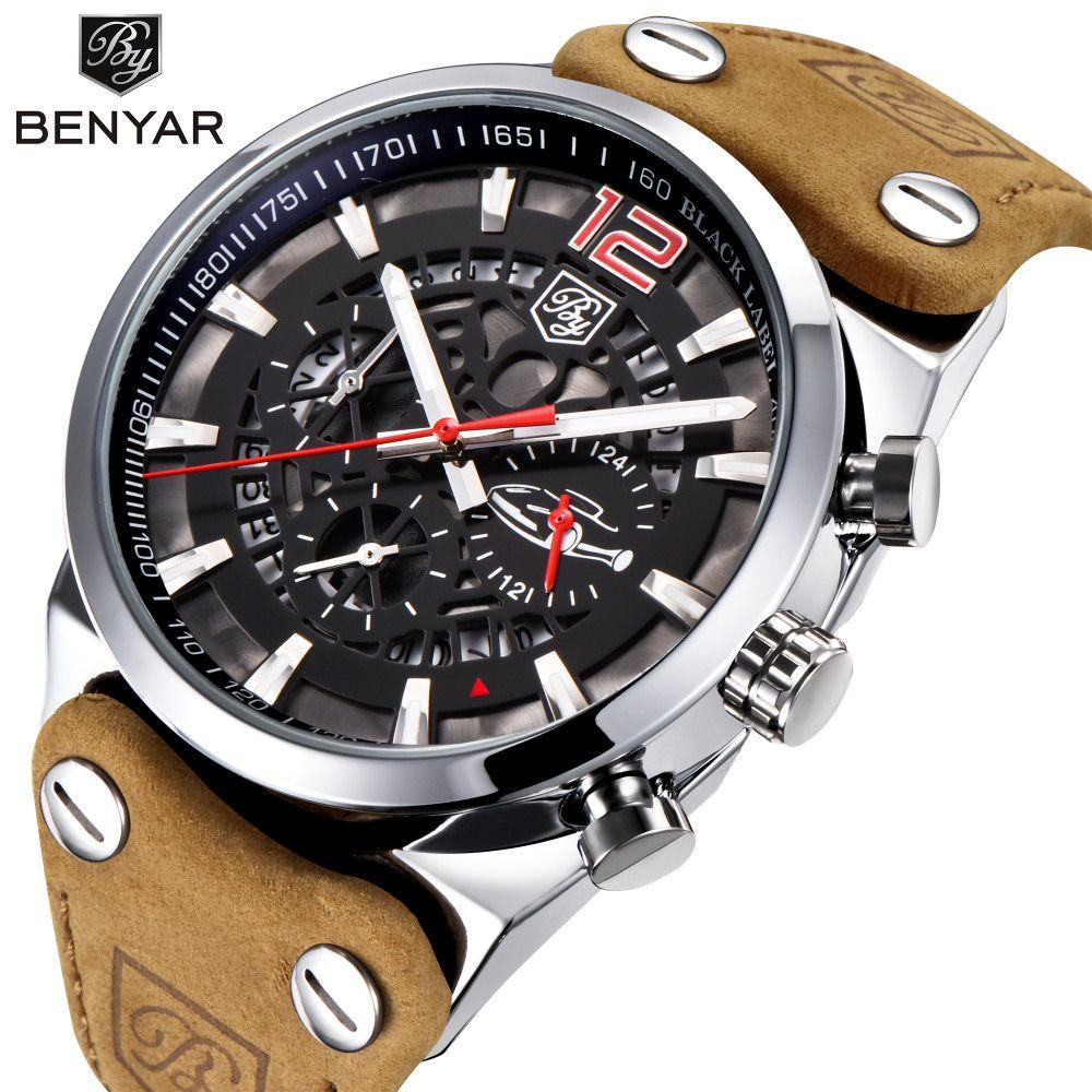 BENYAR Brand Chronograph Sports Men Watches Fashion Military <font><b>Waterproof</b></font> Leather Quartz Watch Relogio Masculino Zegarek Meski