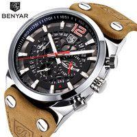 BENYAR Cronógrafo Marca de Lujo Del Deporte Para Hombre Relojes Militares Moda de Cuero Resistente Al Agua Reloj de Cuarzo Reloj de Los Hombres Relogio masculino