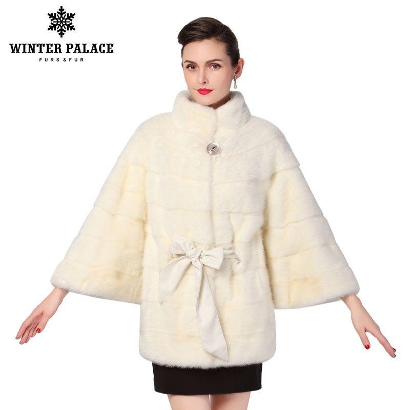 Die beste verkäufer der natürlichen nerz pelz mäntel Weiß nerz pelzmantel ist einer fledermaus modell mit lange abnehmbaren ärmeln pelz kragen und kapuze