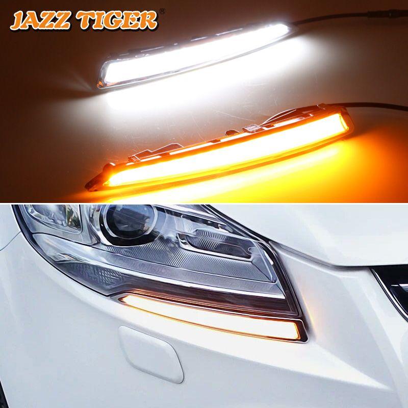 JAZZ TIGER 2 pièces clignotant jaune fonction de Signal 12 V voiture DRL lampe LED feux de jour pour Ford Kuga Escape 2013 2014 2015