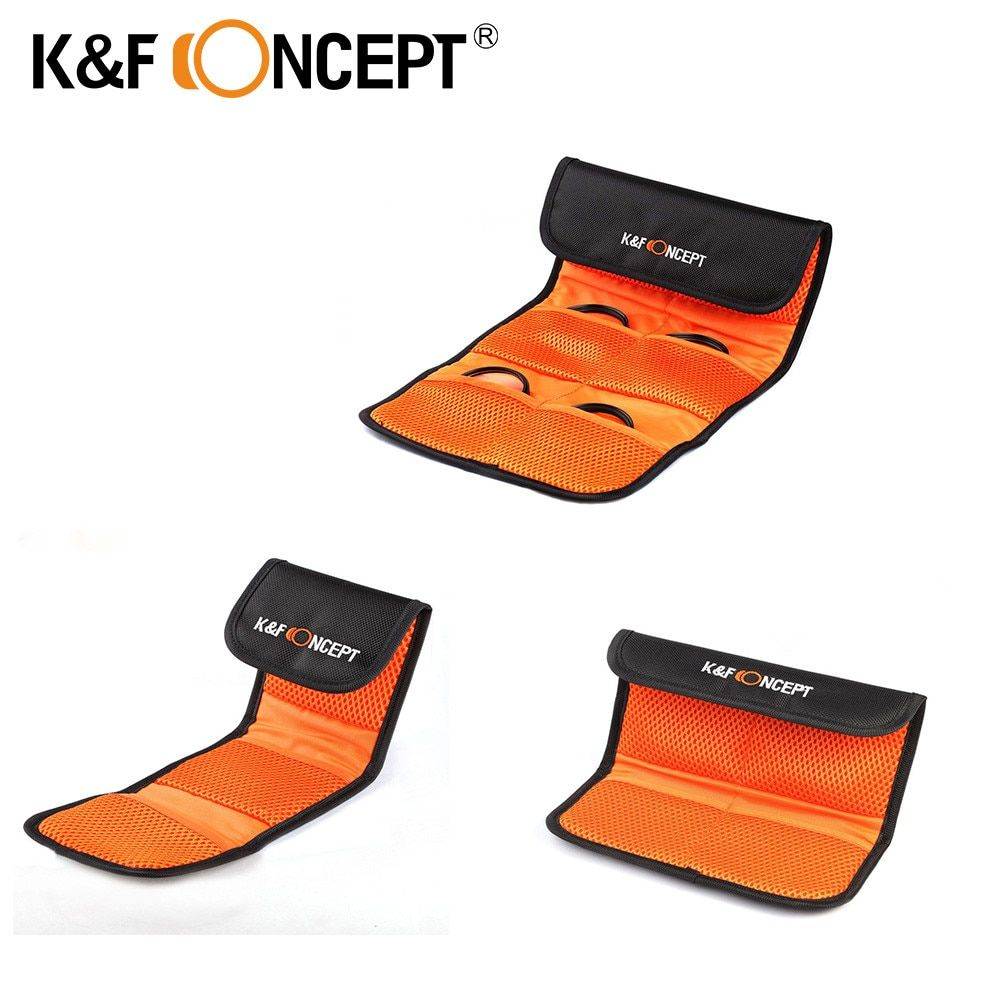 K&F CONCEPT Lens Filter Wallet Case 3/4/6 Pockets Bag for 49mm 52mm 55mm 58mm 62mm 67mm 72mm 77mm UV CPL FLD filter Holder Pouch
