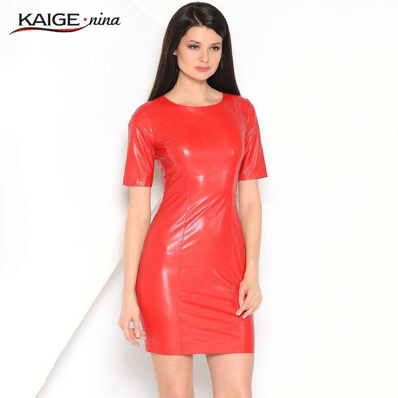 Kaige. Nina nouveaux Vestidos pour femmes robe en simili cuir polyuréthane mode couleur Pure Style manches courtes col rond gaine Mini automne robe 1615