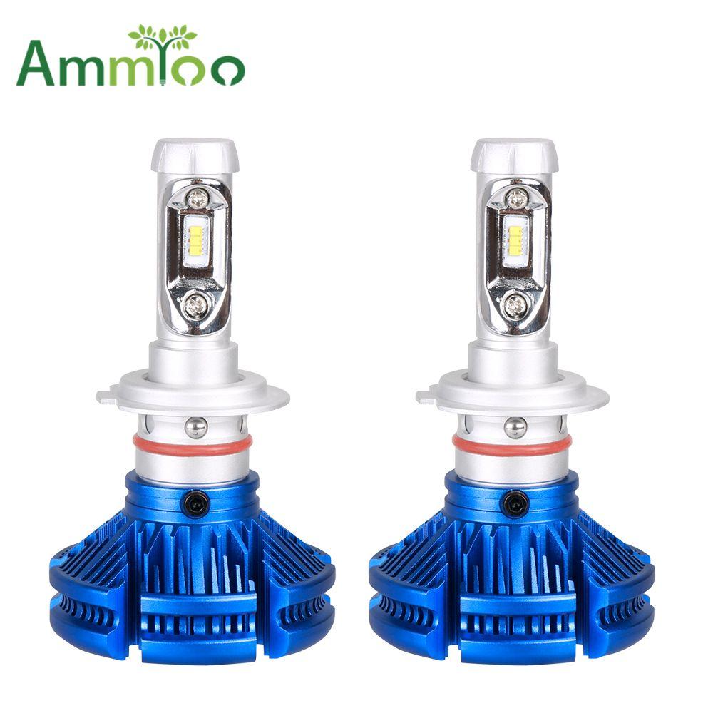 AmmToo H4 LED Car Headlight H7 H11 Bulbs 9005/HB3 9006/HB4 Fog light 50W H1 H3 9012 Autofront Headlamp 12000Lm 6000K 12V 24V