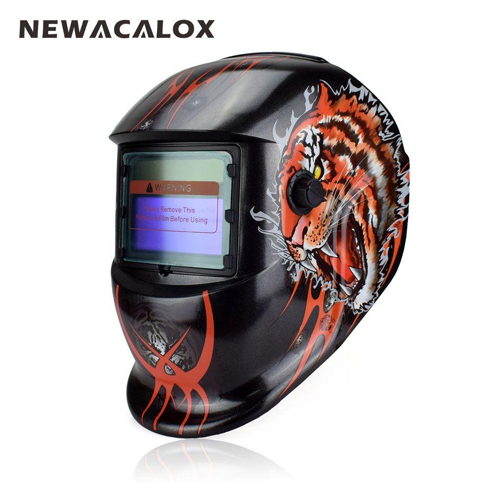NEWACALOX Tiger Solar Auto Darkening MIG MMA Welding Mask Welding Helmet Weld/Grind /UV/IR Preservation for Welding Machine