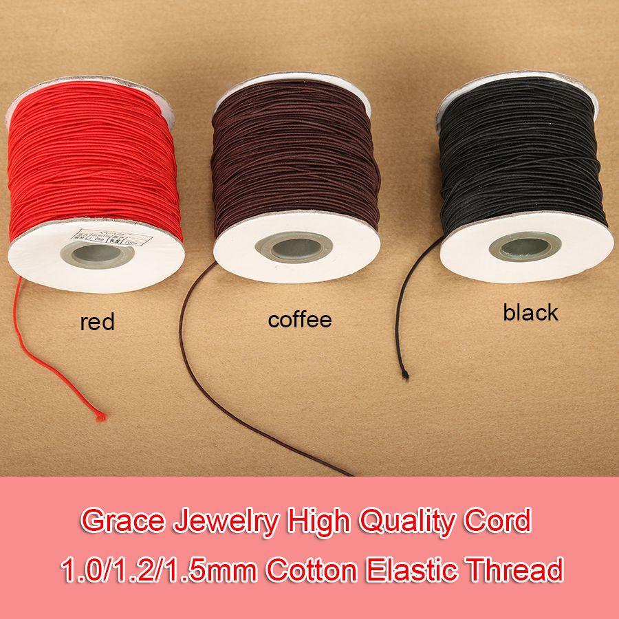 1 rouleau/lot1.0/1.2/1.5mm noir Latex caoutchouc fil élastique coton recouvert cordon pour chaîne perles Bracelet collier fabrication de bijoux
