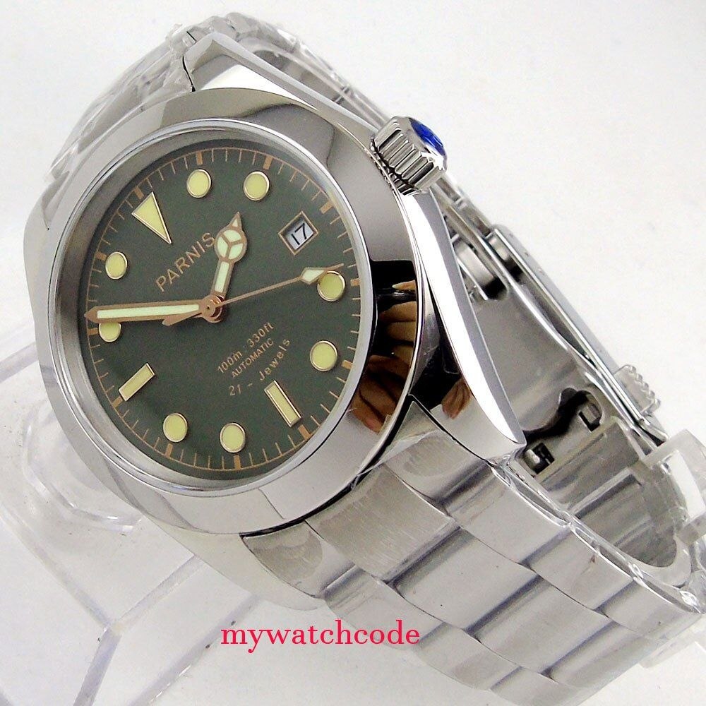 40mm parnis black and green dial luminous sapphire glass miyota automatic mens watch