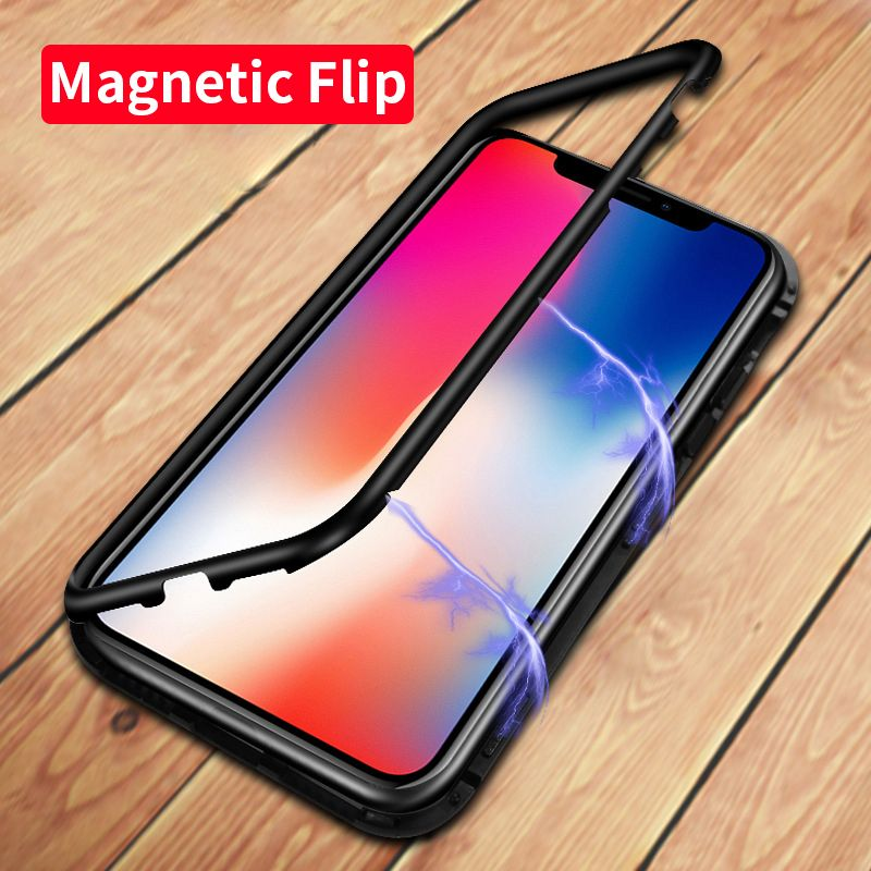 Luxury Magnetic Adsorption Case for iPhone X 8 7 Plus Tempered Glass Back Built-in Magnet Case for iPhone 7 8 Metal Bumper Cover