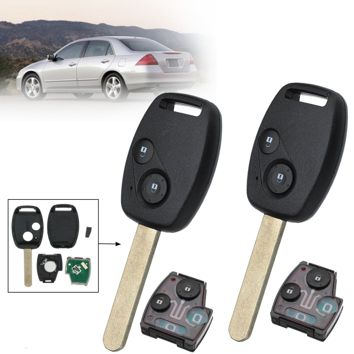 2Pcs 2 Buttons 313.8Mhz HON66 Car Remote Key Fob Case Shell with ID46 Chip For Honda/Accord/Civic Fit 2003 2004 2005 2006 2007
