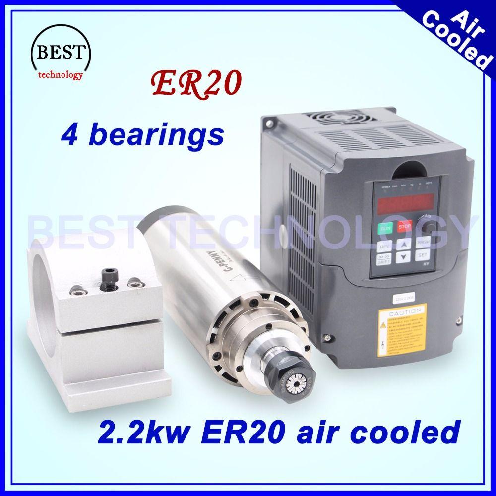 CNC milling spindle 2.2kw ER20 air cooled spindle 4 bearings 24000rpm air cooling & 2.2kw VFD inverter & 80mm spindle bracket