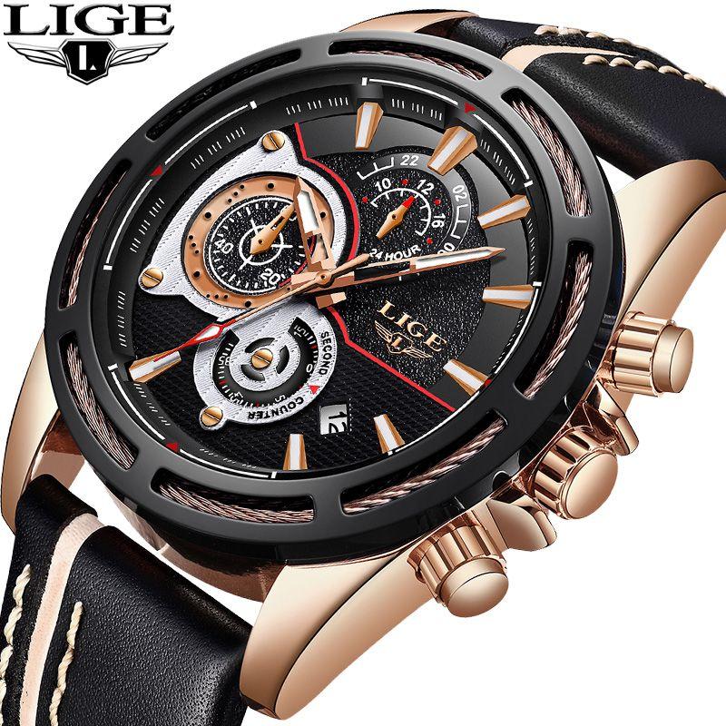 LIGE Neue Herren Uhren Top Brand Luxus Quarzuhr Männer Kalender Leder Militärische Wasserdichte Sport Armbanduhr Relogio Masculino