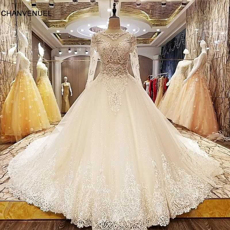 LS6806 long sleeve wedding dress zipper back beading crystal ball gown lace elegant wedding gown for bridal real photos