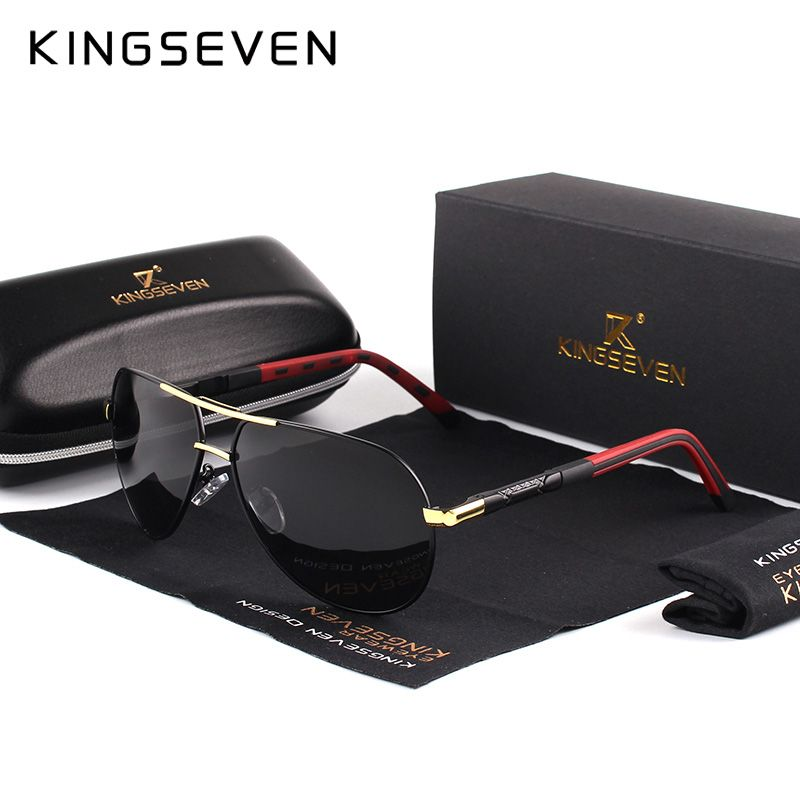 KINGSEVEN Men Vintage <font><b>Aluminum</b></font> HD Polarized Sunglasses Classic Brand Sun glasses Coating Lens Driving Shades For Men/Wome