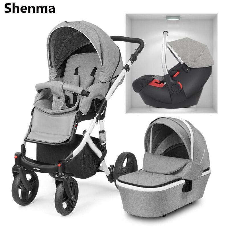 Shenma baby kinderwagen 2 in 1 3 in 1 können sitzen liegen doppelseitige stoßdämpfer klapp tragbare neugeborenen aluminium rahmen multifunkti