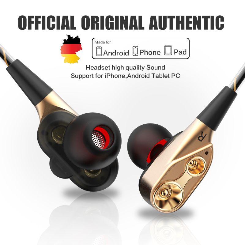 QKZ CK8 HiFi Verdrahtete Kopfhörer Dual-Dynamische Quad-core Lautsprecher 3,5mm in-ear-ohrhörer Flexible Kabel mit Mikrofon fone de ouvido