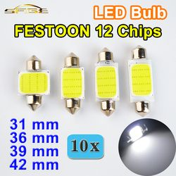 Hippcron FESTOON COB LED Bulb 31mm 36mm 39mm 42mm C5W DC12V 12 Chips White Color Car Auto Lamp Interior Dome Light (10 PCS)