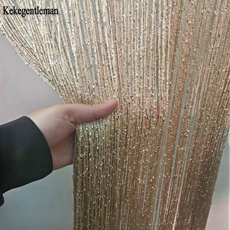 3x2.6 m chaîne rideau brillant gland ligne rideaux fenêtre porte diviseur drapé salon décor cantonnière