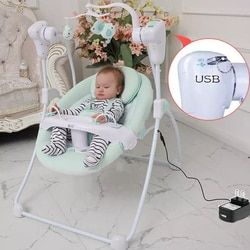 Electric baby crib rocking chair cradle newborn swing shaking bed baby bouncer sleeper with plug power adapter